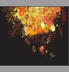 background of paint splashes and autumnal leaves vector image