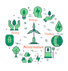 banner of alternative clean energy with generator vector image