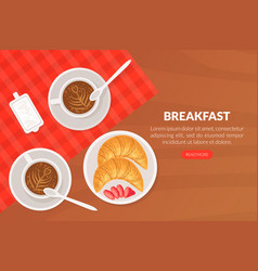 Breakfast landing page template top view salad vector