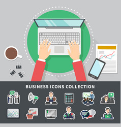 business icons collection background vector image