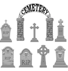 cartoon gravestones collection set vector image