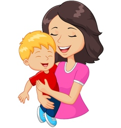 Cartoon happy family mother holding son vector