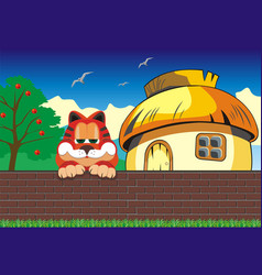 Cartoon landscape cat on the fence hut outside vector