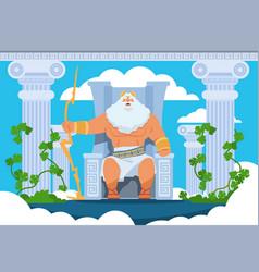 Cartoon zeus legendary god character ancient vector