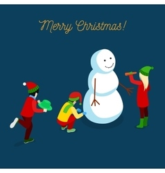 Christmas Isometric Greeting Card with Snowman vector image