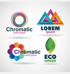Corporation emblems set icons vector