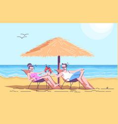 Couple of seniors on beach flat doodle vector