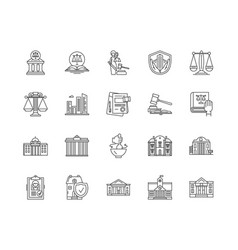 Courthouse line icons signs set outline vector