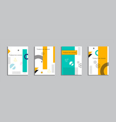 Cover design with memphis style background vector