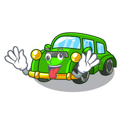 Crazy classic car toys in cartoon shape vector