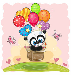 Cute cartoon panda with balloons vector