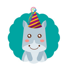 Cute hippo party hat birthday vector