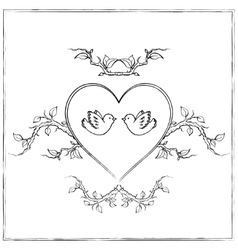 Doves with Heart vector
