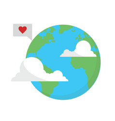 Earth with clouds mail message vector