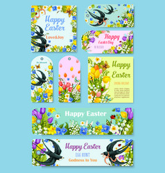 Easter day greeting tag label and poster set vector