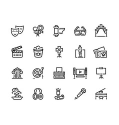 entertainment line icons cinema and theater sound vector image