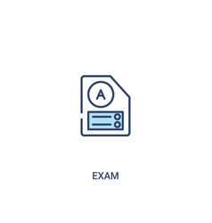 Exam concept 2 colored icon simple line element vector