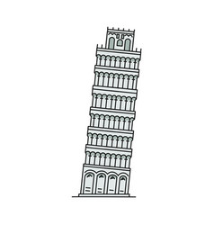famous italian landmark - falling pisa tower icon vector image