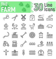 farm line icon set farming symbols collection vector image