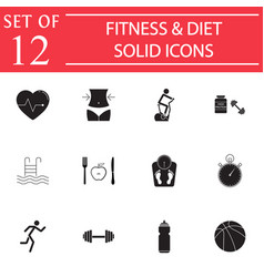 Fitness and diet solid icon set healthy life vector
