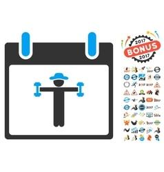 Fitness Calendar Day Flat Icon With Bonus vector image