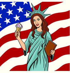 girl in statue liberty suit pop art vector image