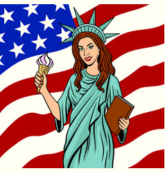 Girl in statue of liberty suit pop art vector