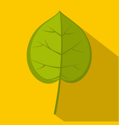Green linden leaf icon flat style vector