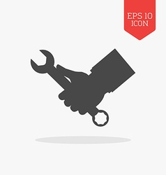 Hand holding wrench icon Flat design gray color vector image