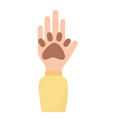 Hand with paw print adoption charity and donation vector