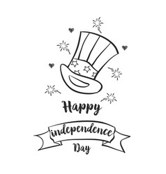 happy independence day doodle style vector image