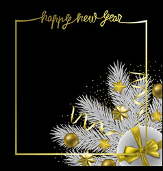 happy new year greeting card with winter holiday vector image