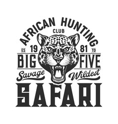 Hunting sport emblem jaguar and big five hunt vector