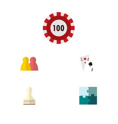 icon flat play set of gambling cards puzzle vector image