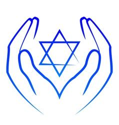 icon - hands holdin star david vector image