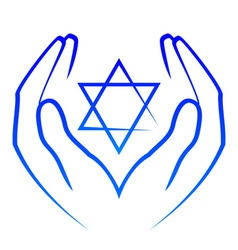Icon - hands holdin star of David vector