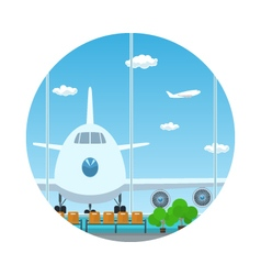Iconview on airplane through the window vector