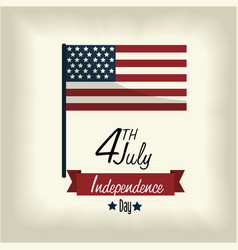 Independence day with flag and ribbon design vector
