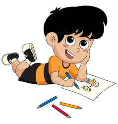 Kid drawing a pictures vector