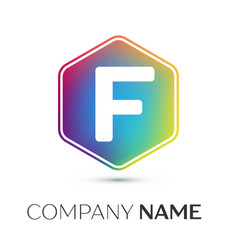 Letter f logo symbol in the colorful hexagonal on vector
