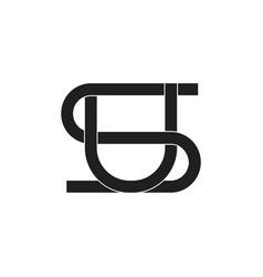 letter su linked overlap logo vector image