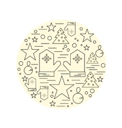 Line christmas icons set linear symbol vector image
