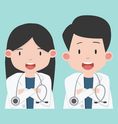 male and female doctors character vector image