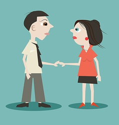 Man and Woman Holding Hands vector image