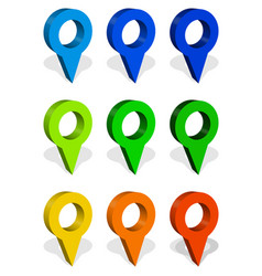 map marker map pin icon set in 9 colors vector image