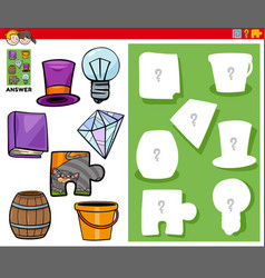 Matching shapes game with cartoon objects vector