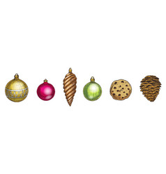 merry christmas and happy new year set cone vector image