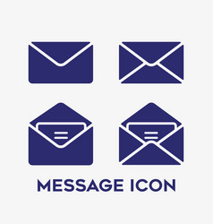 message open and closed envelope icon set on vector image