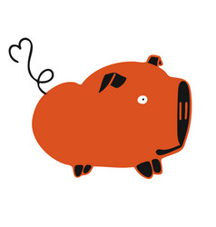 Modern with red fat cute pig vector
