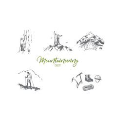 mountaineering - sportsmen climbing vector image